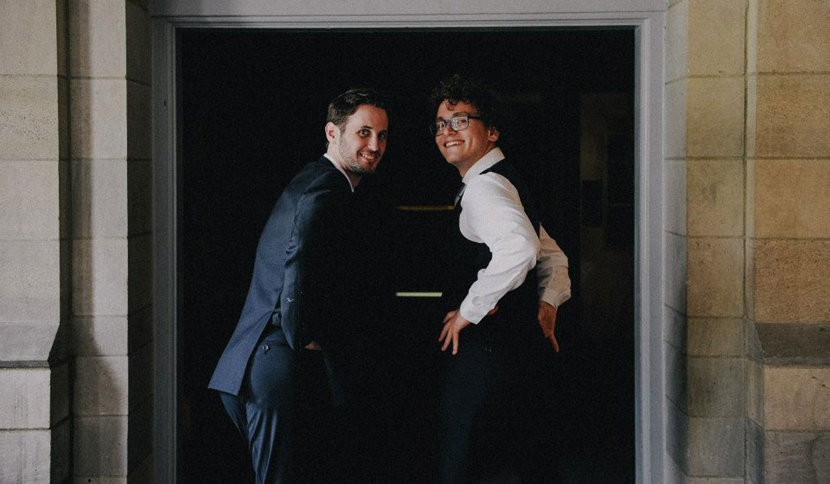 Here we are, showing off our butts at his wedding.